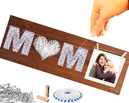 Geschenk Mama BASTELN ❤️ String Art DEKO aus HOLZ | DIY Geschenke für Mutter Mutti Oma Schwiegermutter Tante zum Geburtstag Muttertag ausgefallen individuell personalisiert zum selber machen aufhängen