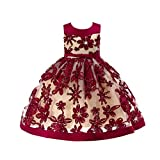 Xmiral Vintage Vestido Cuello Redondo sin Mangas de Algodón Floral con Cinturón de Fiesta Dama de Honor Desfile(Rojo,5-6 años)
