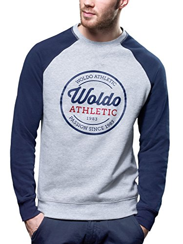 WOLDO Athletic Herren Pullover Sweatshirt Sweater Raglan Rundhals, Howe / Grau/Blau - L