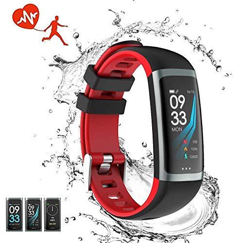 Cimic Fitness-Tracker Wasserdichte Smart Watch Herzfrequenz Schlaf Monitor Blutdruck Test Verschiedene Sport Schrittzähler Jungen und Mädchen Bluetooth iOS Android-Handy schwarz