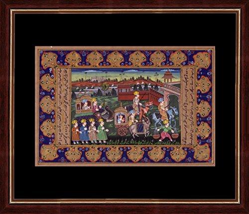 Splendid Indian Art prächtige indische Kunst Mughal Zeitraum royal procession 'Mughal König & Königin Hochzeit Prozession Szene' indische Miniaturmalerei auf alten Büttenpapier mit Naturstein Farben & Gold
