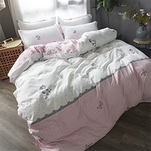 Chickwin Bettbezug Set 4teilig, Blume Bettwäsche 100% Mikrofaser Polyester Super Weiche Reißverschluss Atmungsaktive Bequem Haltbar mit Bettlaken und Kissenbezuge (150x200cm,Pinkes Plaid) -
