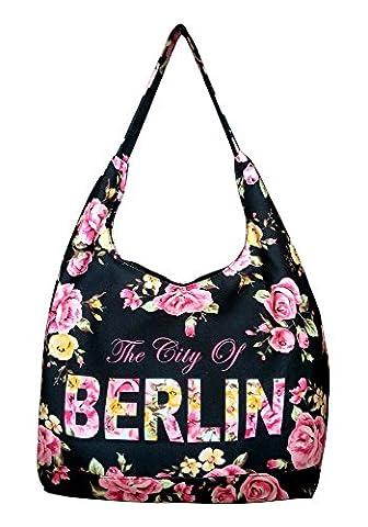Robin Ruth Canvas Umhängetasche/Schultertasche Berlin Flower in schwarz/pink (Maße: LxHxT 36x30x18 cm)