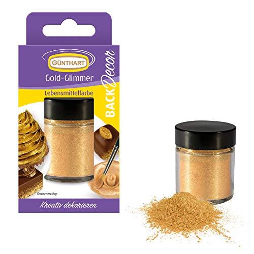 Günthart Back & Decor 7g | Essbares GOLD Puder | Lebensmittelfarbpuder | Gold Glitzer (Erdbeer-kuchen, Glasur -)