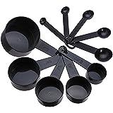 Kanggest 10Pcs Negro Cucharas de Medición Plásticas para Utensilios de Cocina Cucharas para Condimentos de Cocina Medición Seca y Líquidos Ingredientes