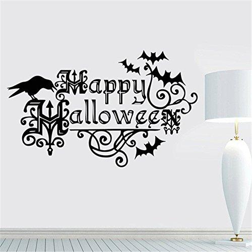Decal Zimmer Zitate Party Halloween Decals Produkte und Dekorationen Kinder Halloween Crow Nursery Perfekte Schönheit Fledermäuse Happy Halloween Zitate Kunst Dekor ()