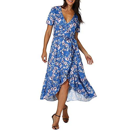 ❤HappyQn❤ Damen Drucken Lange Kleider V-Ausschnitt Sommerkleider Kurzarm Wickelkleid Maxikleid Strandkleid mit Schlitz (Flip-chart Tabs)