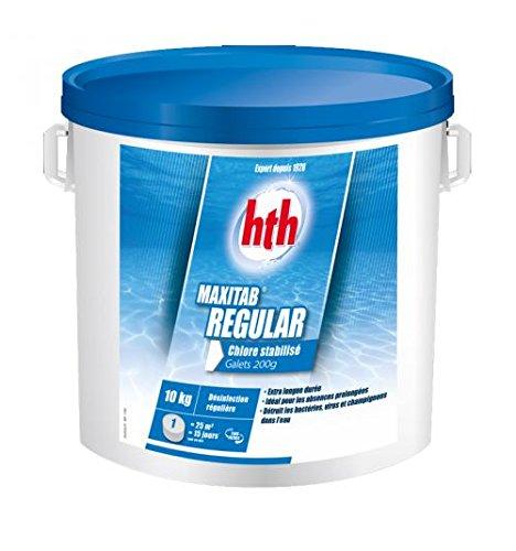 Chlore lent piscine stabilisé 1,2kg (galets 200g) HTH Régular