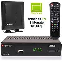 Opticum DVB-T2 Receiver Inklusive DVB-T AX 500/570 Freenet TV Digitaler H.265 Empfänger Inklusive Starke 30db DVB-T Antenne in Schwarz