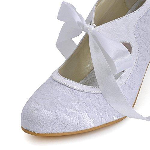 Donna Di nove Pizzo Sposa Da Scarpe Tacco Centimetri Minitoo Bianco Tendenza 6XBxIFqwq