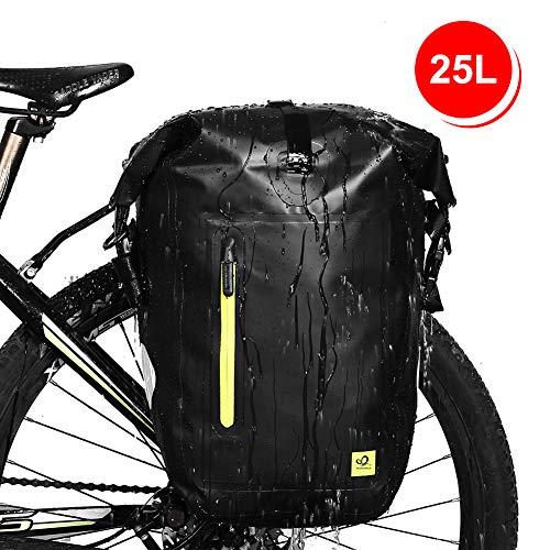 WATERFLY 25L Fahrradtasche Gepäckträger Tasche wasserdichte Gepäckträgertasche Fahrrad Hinterradtasche Schwarz