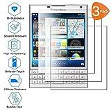Wenlon [3 Unidades Adecuado para Blackberry Passport Silver Editon, Pantalla HD de Cristal Templado 9H de dureza, película Protectora de Vidrio Templado, protección contra rayones