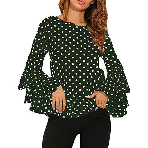 Top da donna camicia a pois ampia camicetta casual da donna campana camicia a maniche lunghe giacca eleganti donne (verde, l)