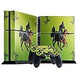 Galoppierende Pferde, Designfolie Sticker Skin Aufkleber Schutzfolie mit Farbenfrohem Design für Playstation 4 CUH 1000 1100