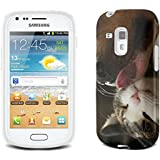 Chats 10043, Chat et Chien, Clair Etui Housse Coque de Protection en Cuir avec Stand, Fermeture Magnétique et Dessin Coloré pour Samsung Galaxy S3 Mini