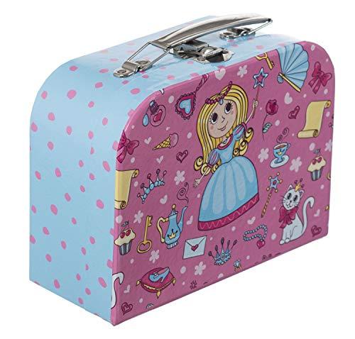 Bieco Kinderkoffer Prinzessin, 18x25cm   Spielkoffer Kinder   Kinder Köfferchen   Kinder Spielkoffer   Koffer Karton   Metallgriffe   Geschenk   Kinderkoffer Spielzeug Kleinkind   Reise Spielekoffer