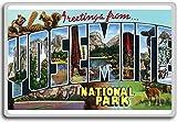 Greetings From Yosemite National Park - Vintage 1940s Postcard fridge magnet - Calamita da frigo