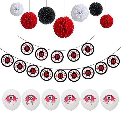 er Girlande Bunting Bloody Eyeballs Latex Luftballons Set Halloween Party Indoor Outdoor Dekoration für gruselige Halloween Party ()
