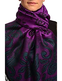 Small Flowers & Paisleys On Bright Purple Pashmina Feel With Tassels - Purple Pashmina Floral Scarf