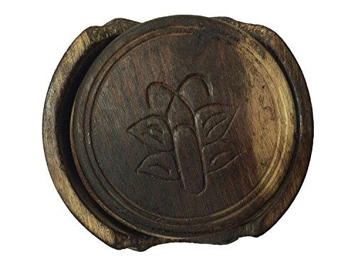 Geschenk für Weihnachten oder Geburtstag an Ihre Lieben Nautical Hand Carved Wooden Drink Coasters Set of 6 in a Lotus Shaped Holder with Star Design Inlay - Carved Wooden Coaster