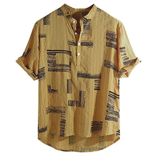 BHYDRY Herren Baumwolle Leinen gedruckt Stehkragen Kurzarm lose Henley Shirts(XX-Large,Gelb -
