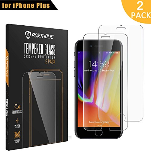 iPhone 6 Plus 6s Plus 7 Plus Protector de Pantalla,Cristal Vidrio Templado Premium 5.5''PORTHOLIC [2-Unidades][9H Dureza][3D Touch][Alta Definicion] Anti-Explosion/Anti-water,oil,fingerprints/0.33mm