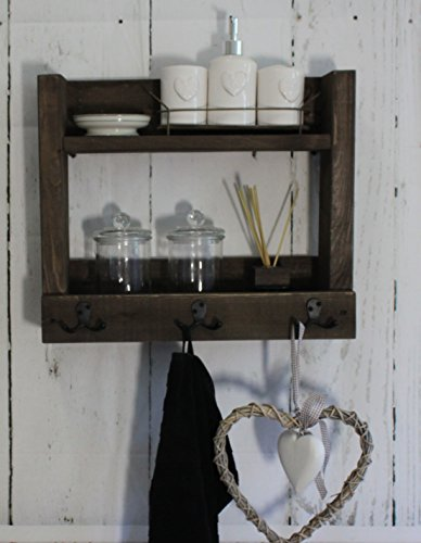 Badregal Borte Hängeregal Shabby Vintage Holz braun Handtücher Landhaus rustikal