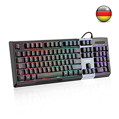 Gaming Tastatur LESHP 1/ 3/ 7 Farben LED Hintergrundbeleuchtung Klangsteuerung Tastatur, wasserdichte Tastatur 105 Tasten QWERTZ, deutsches Layout 19 Anti Ghosting Tasten für Mac und Windows