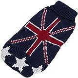 Generic Turtleneck Dog Acrylic Knitted Sweater Uk Flag Pattern - Size Xxs