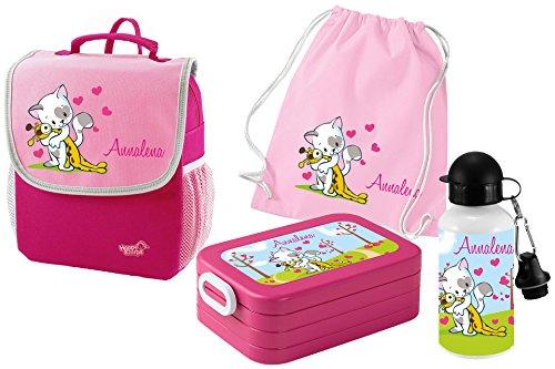 Mein Zwergenland Set 5 Kindergartenrucksack mit Brotdose, Turnbeutel aus Baumwolle und Trinkflasche Happy Knirps Next mit Name Katze, 4-teilig, Pink