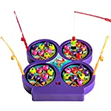 Mini Fishing Toy Electronic Magnetic Fishing Board Game Rotating with Music Gift for Kids Over 3 Years Old, Color Vary
