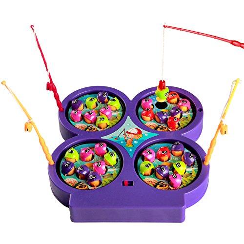 Mini Gioco di Pesca Elettronico Pesca Magnetica Pesci con Calamita con Musica per i Bambini, Colore Vary