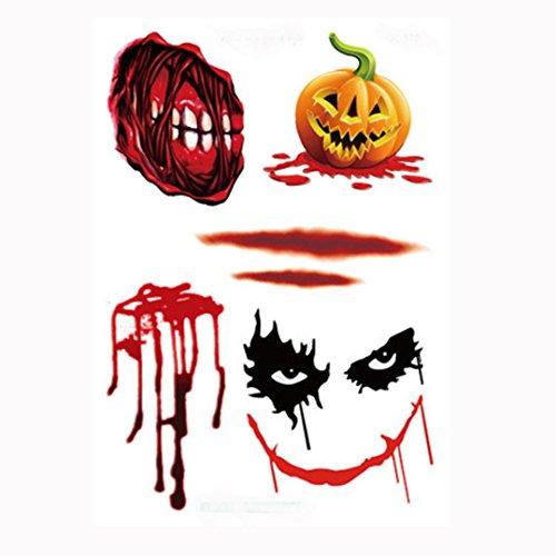 Xmansky 1 Stück Halloween Wasserdicht Tätowierung Aufkleber Dekor (Katze Im Hut Kostüm Halloween Geist)