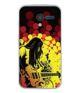 PrintVisa Designer Back Case Cover for Motorola Moto X :: Motorola Moto X (1st Gen) XT1052 XT1058 XT1053 XT1056 XT1060 XT1055 (The Rock Star With His Guitar)