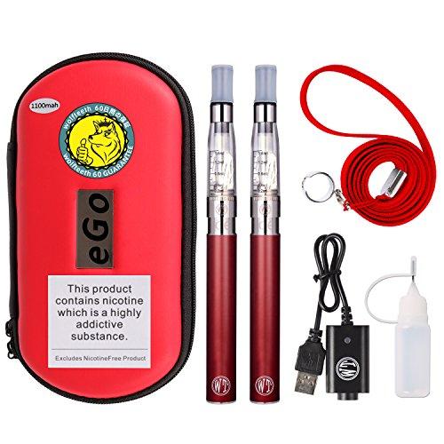 Wolfteeth 2 pack ce4 e sigaretta starter kit | 1100mah batteria ricaricabile | ce4 atomizzatore liquido ricaricabile | sigaretta elettronica vaporizzatore caso set | senza nicotina e tabacco rosso/1002