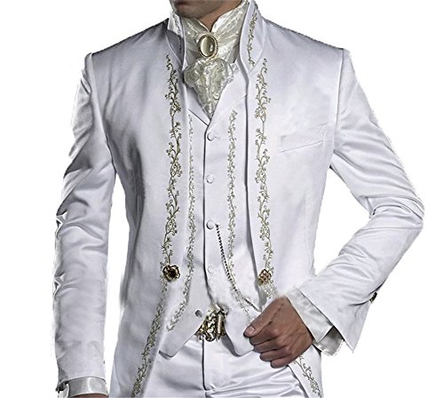 GEORGE BRIDE Herren Anzug 3-Teilig Anzug Sakko,Weste,Anzug Hose,007 (3XL (Siehe Größentabelle), Weiss+Silber Stickerei) (Siehe Größentabelle)