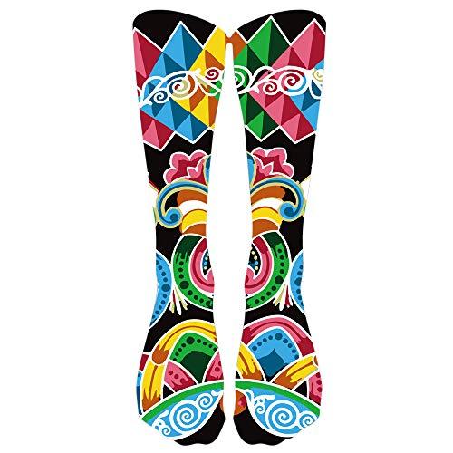 Ears Damen Socken Frauen Männer Bunte Fußball-hohe Socken-lange Socken Winter-warmes Cotton Socken Baumwollsocken Kniestrümpfe Samt Socken Bootssocken Stricken Rutschfest Sportsocken