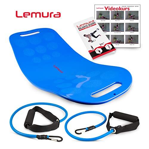 Lemura Fitness Balance Board mit Bändern + Übungsbroschüre & Online-Videokurs -