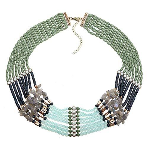 Ende der Wüste Damen Halskette Frauen Handcrafted Multilayer Strang Einstellbare Halskette Multicolor Aluminium Ton Tschechische Glas Kristall Perlen Schmuck Für Party Bankett -