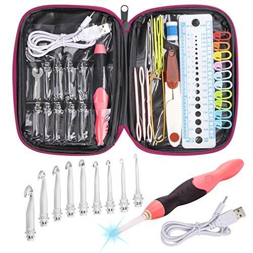 Bcmrun set di uncinetti a led, 9 testine intercambiabili light up ferri da maglia accessori per utensili da cucire con custodia (rose red)