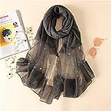 H-M-STUDIO SchalEuropäischen Und Amerikanischen Mode Handgemachte Nagel PerleReine SeideReine FarbeSchalSommer Klimaanlage Schal.Schwarz 190 * 85Cm