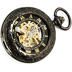 Yesurprise Vintage Stainless Steel Steampunk Style Mechanical Windup Pocket Watch Party Gift F086