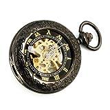 YESURPRISE Retro Handaufzug mechanische Taschenuhr Skelett Uhr bronze