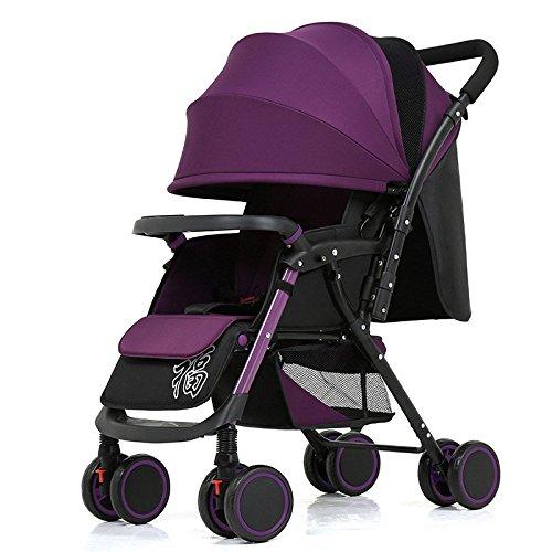 rwagen Leichte Tragbare Faltbare Vier-Rad Push-Cart Kann Sitzen Liegen Regenschirm Kinderwagen Bb Car,Two-wayversion-Purple ()