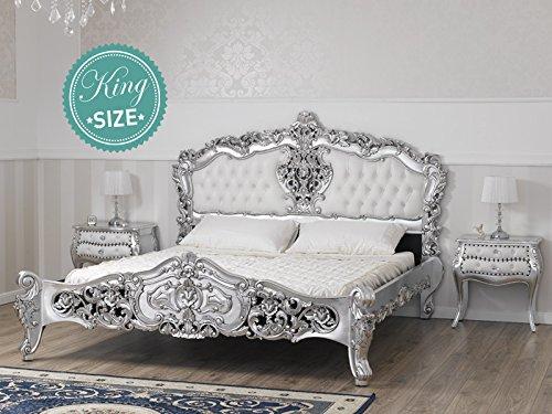 Letto stile Rococo Moderno matrimoniale king size foglia argento ...