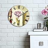 LaModaHome Home decorativo 100% MDF vera running orologio da parete con Art (diametro 30,5cm) pronto da appendere pittura sfondo rosa rosa fiore sfondo marrone chiaro spazzola multi in Store.