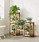 SMHJ Cremagliera fiore Supporto per fiori a più strati, supporto per fioriera da pavimento, supporto per fiori anticorrosione in bambù multi carne