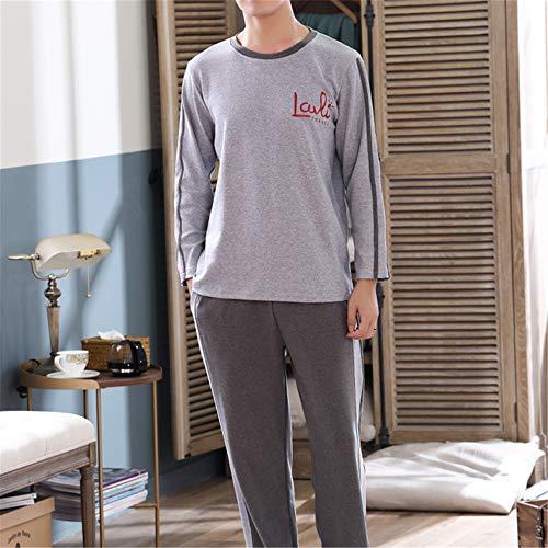 DUXIAODU Schlafanzug Damen lang Winter Pyjama Set Zweiteiliger Sleepwear Langarm nachtwäsche,Langärmliger Combed Cotton Cartoon-Pyjama A-Männlich-5 XXXL