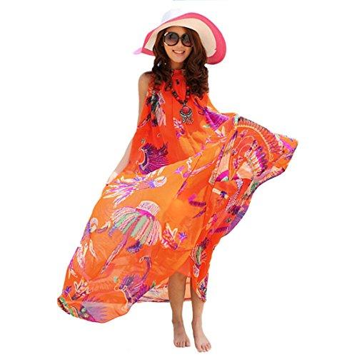 Qiyun 1077s0555–Robe pour femme Orange