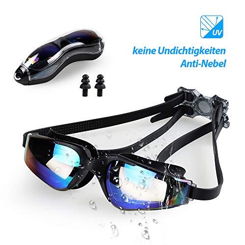 infinitoo Schwimmbrille Antibeschlag UV-Schutz Unisex Schwimmbrillen für Erwachsene Jugendliche mit Verstellbarer Silikonband, Harte Gläser, Ohrstöpsel & Aufbewahrungsbox